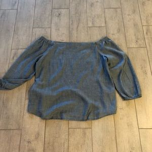 Chicos Chambray off Shoulder Blouse, SZ 3